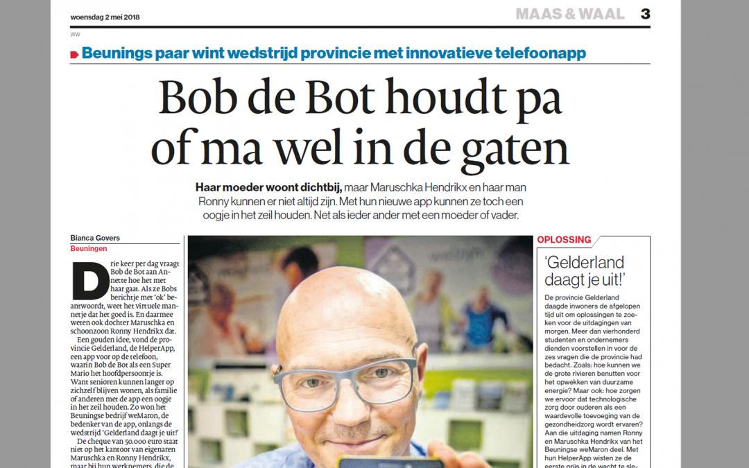 """Bob de Bot wint """"Gelderland daagt je uit"""""""